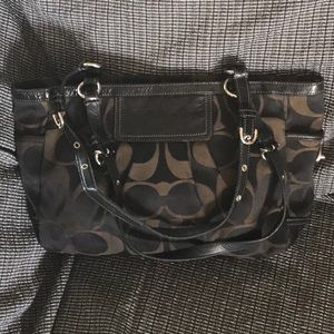 Coach black handbag signature sateen satchel